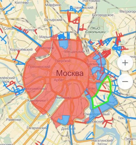 Красным помечены зоны платных парковок в Москве